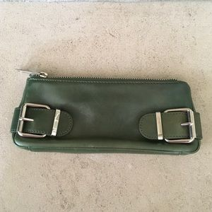 Banana Republic Leather Clutch Green
